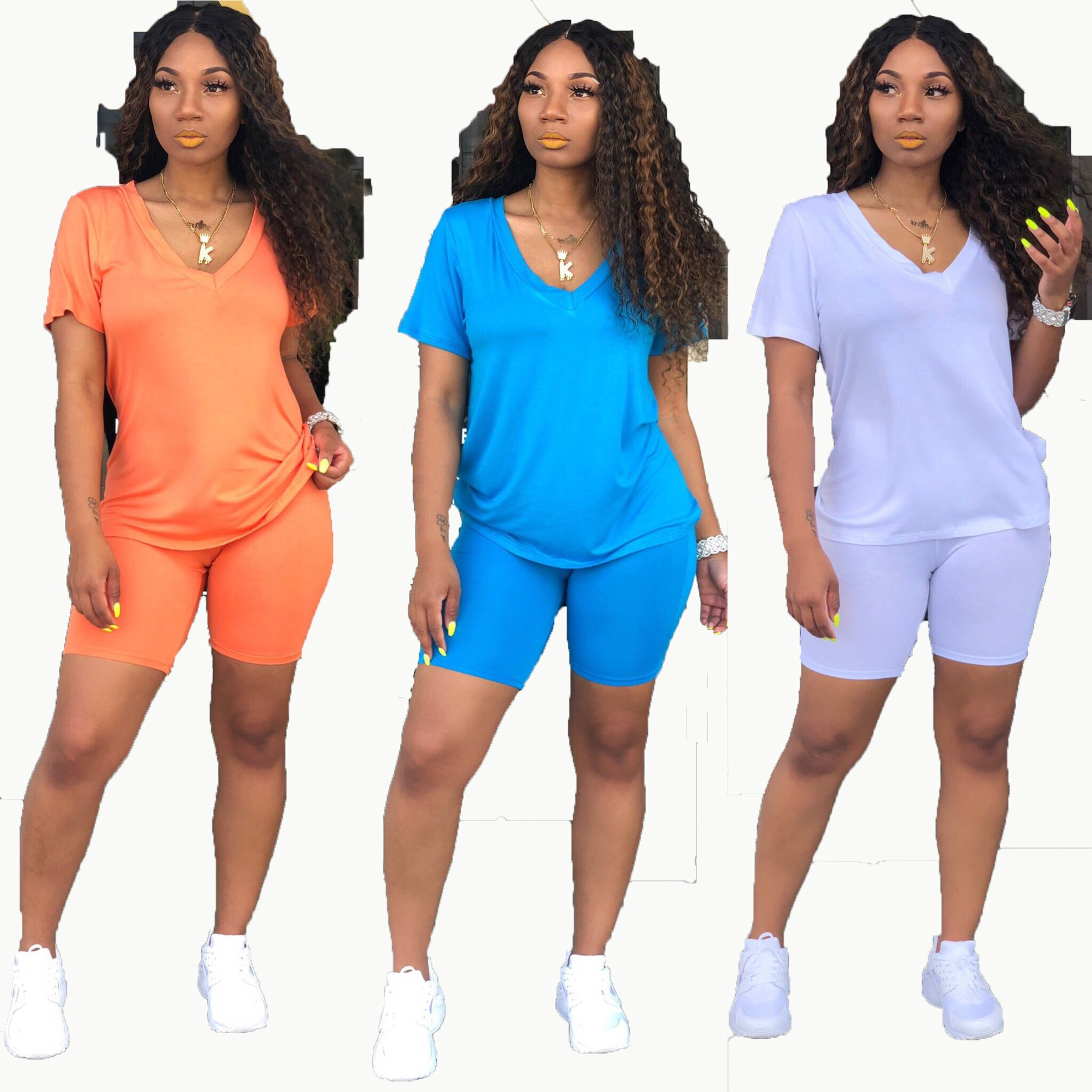 Simple sportswear Vneck short sleeved regular tshirt with straight tight shorts solid color knitted 2piece set H6073 three color
