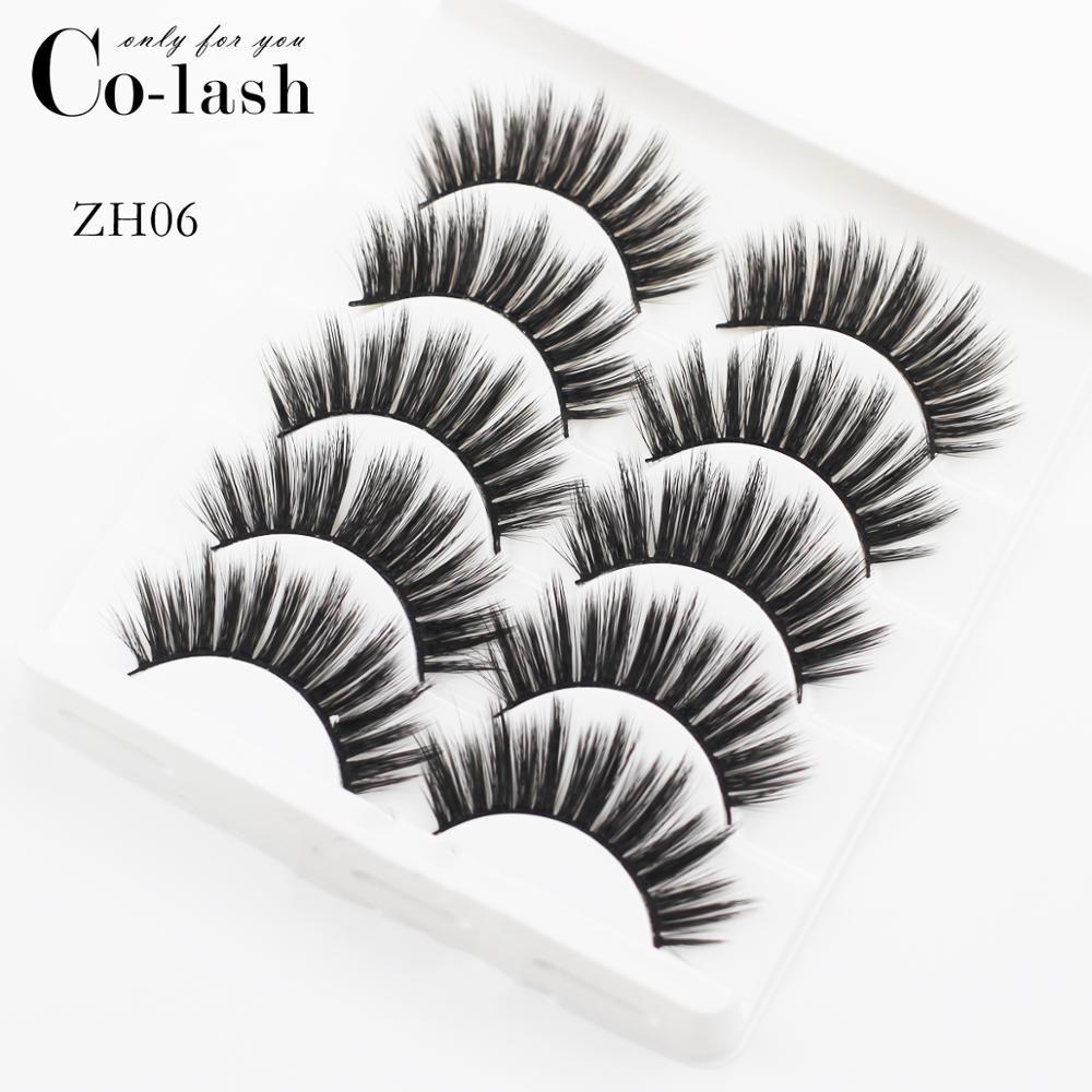 5 pares de pestañas postizas de pelo de visón suave hechas a mano, pestañas largas mullidas y mullidas naturales, utensilios de maquillaje para ojos, pestañas postizas