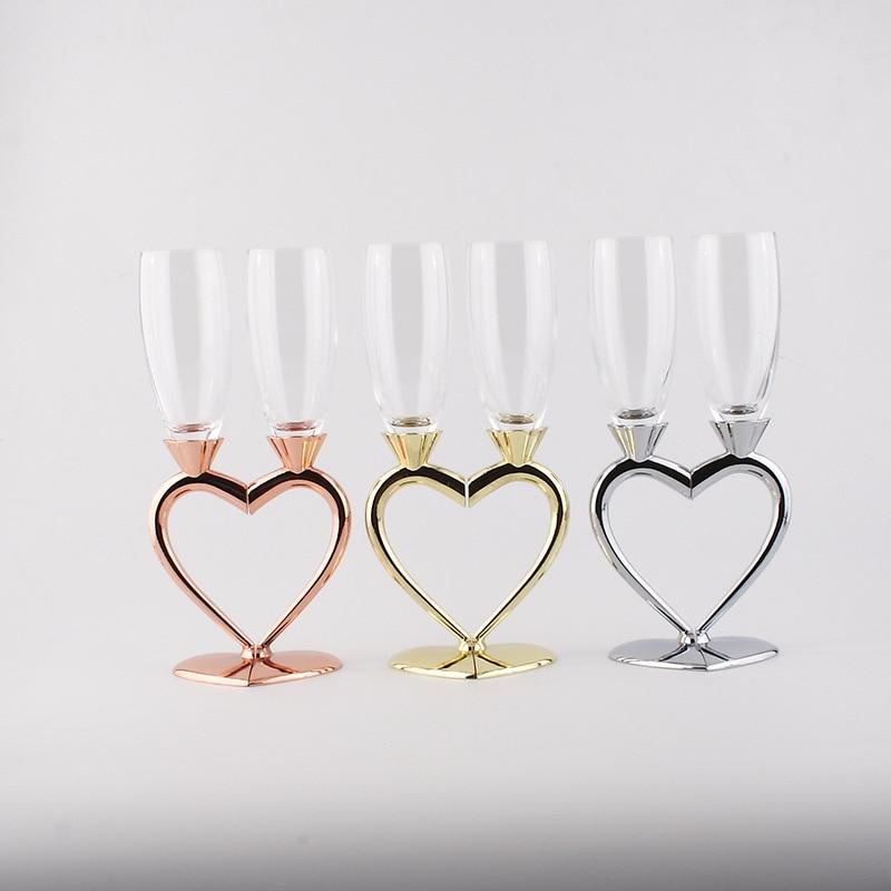 Juego de copas de cristal con forma de corazón doble a la moda, regalo de boda, copa para fiesta, suministros de BARRA DE VIDRIO de cristal, copa de cristal