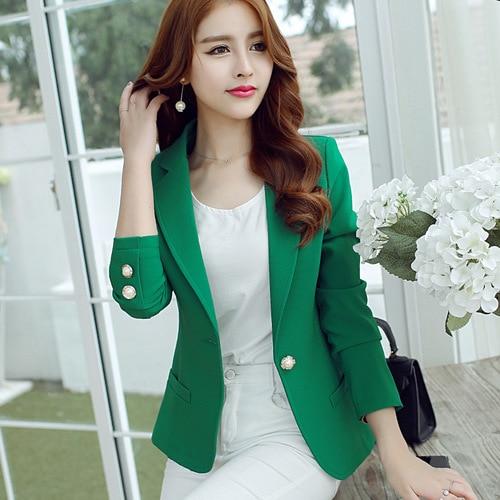 J41416 moda nova chegada feminino blazer e jaqueta verde preto amarelo 3 cores estilo coreano elegante ol escritório terno blazer