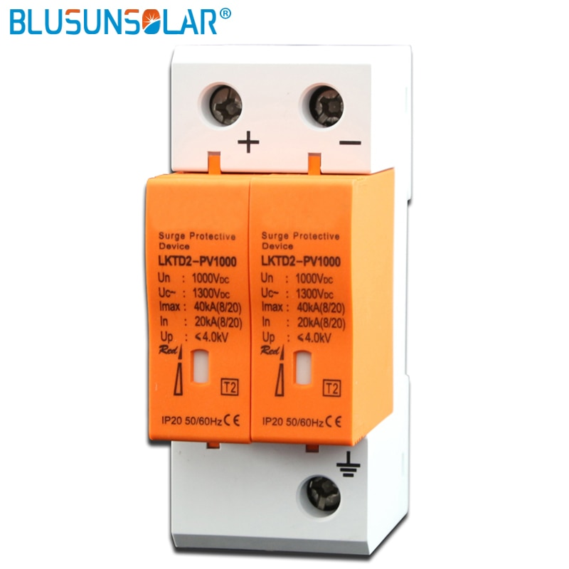 CE Approved 2P DC 500V 1000V 20-40KA SPD House Surge Protector Protective Arrester Device Din rail Lightning Protection