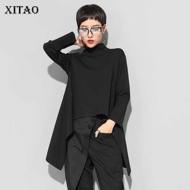 XITAO Vintage Black Turtle Neck T Shirt Women Plus Size Kawaii Casual Long Sleeve Irregular Tops Korean Clothes New ZLL1177