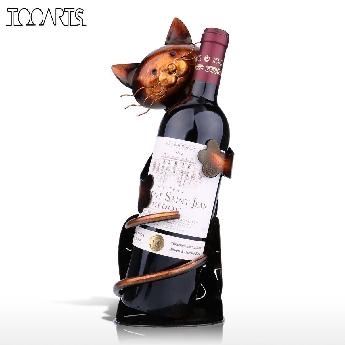 Tooarts Cat Shaped Wine Holder Wine shelf Metal Figurine Practical Figurine Rack For Wine Bottle Office Home Decor wine rack