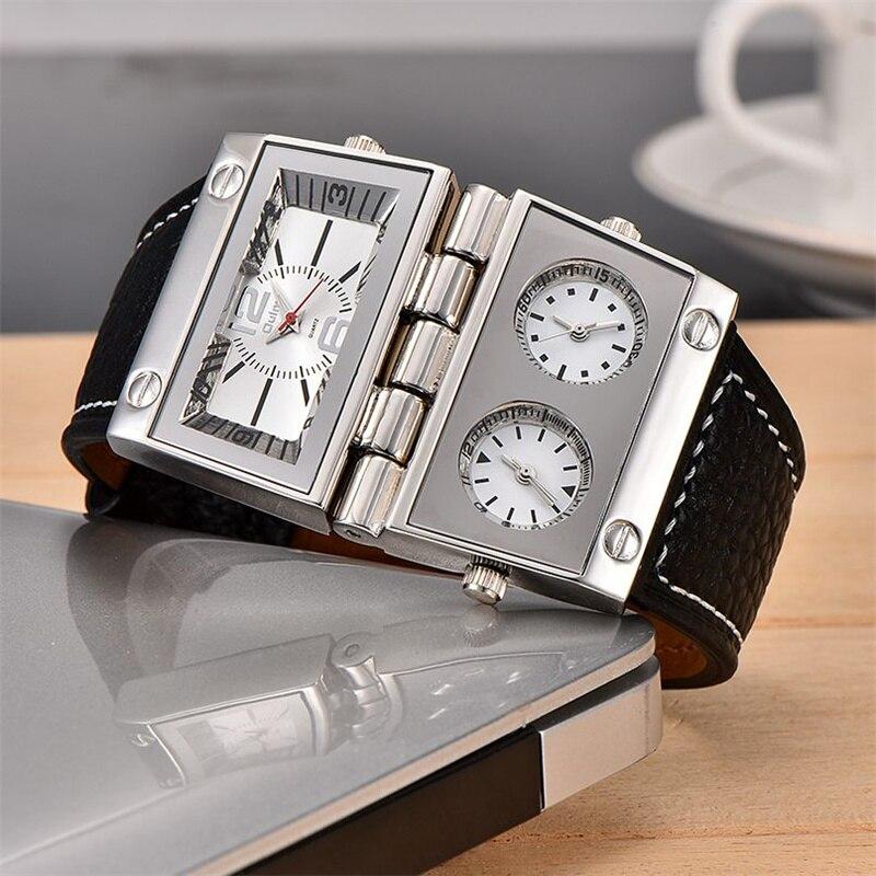 Мужские часы Oulm, кварцевые часы с двумя большими прямоугольными циферблатами, три часовых зоны, из искусственной кожи, ограниченный выпуск