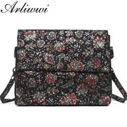 Arliwwi designer novo luxo macio real couro genuíno senhora crossbody messenger elegante presente brilhante floral bolsa sacos gy07