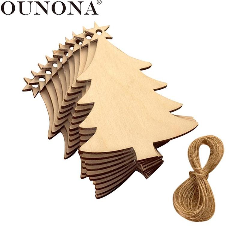 OUNONA 10Pcs árbol de Navidad de madera colgante decoración madera adornos de Navidad árbol de Navidad adornos de madera Decoración