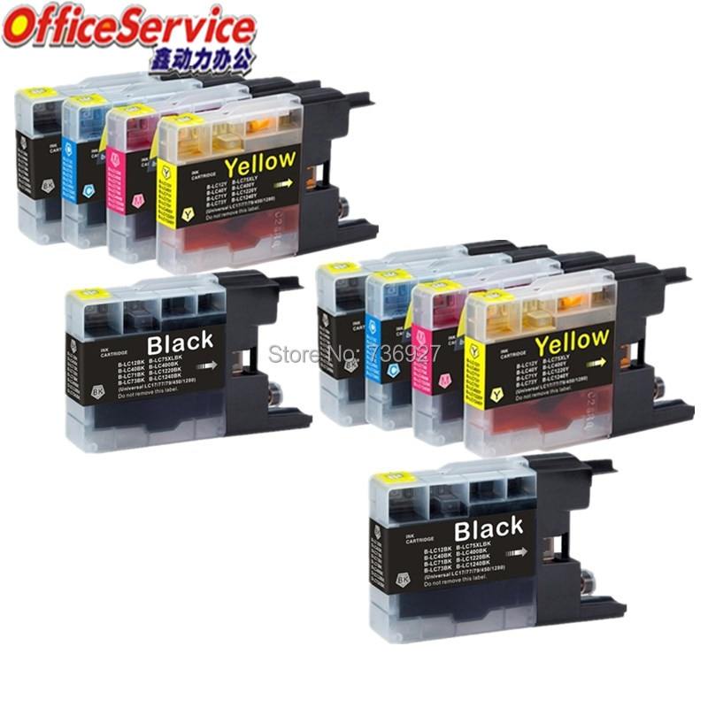 10x cartucho de tinta compatível lc12 lc40 lc71 lc73 lc75 lc1220 lc1240 para o irmão MFC-J5910DW j6510dw j435w j835dw j280w impressora