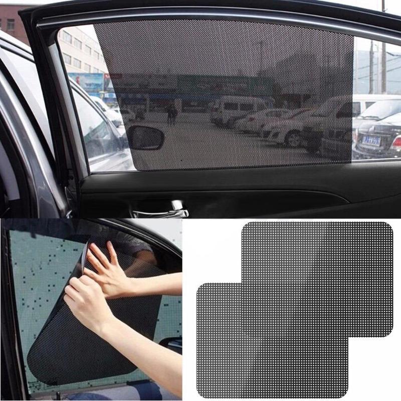 2Pcs Car Rear Window Side Sun Shade Cover Block Static Cling Visor Screen Sticker Car Sun Shades Film Protection Window