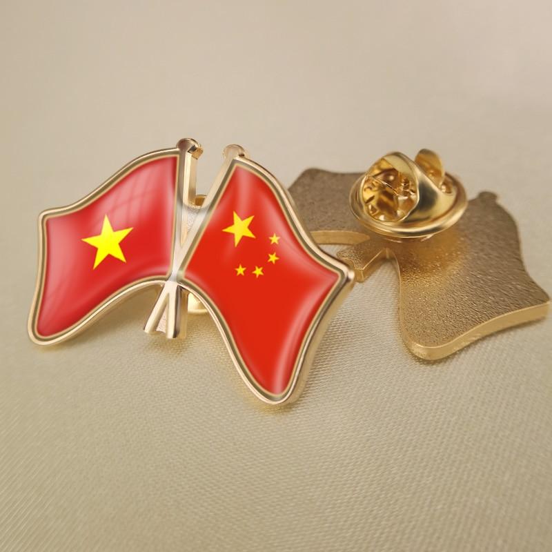 Vietnam e china cruzados/duplo/amizade bandeiras lapela pinos/broche/emblemas