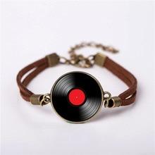 QiYuFang New CD Pin Metal DJ bracelet Music CD jewelry Men vintage Brass Bracelets Women Gift Friend Ship steampunk style hot