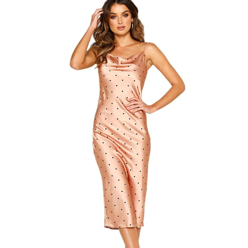 Polka Dot Print Satin Bodycon Spaghetti Strap Dress Sexy Sleeveless Women Summer Solid Elegant Dresses Casual Midi Party Dress