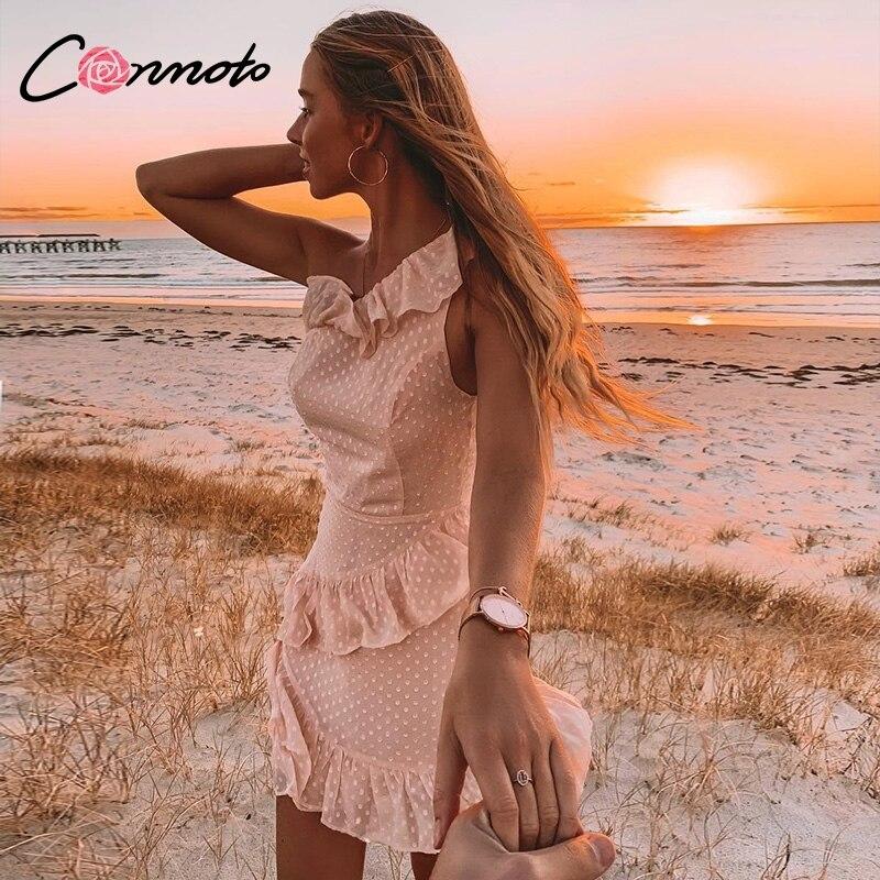 Conmoto  Casual Polka Dot Short Party Dress Girls 2019 Summer NEW One-Shoulder Sleeveless Ruffle Chiffon Dress Women Vestidos