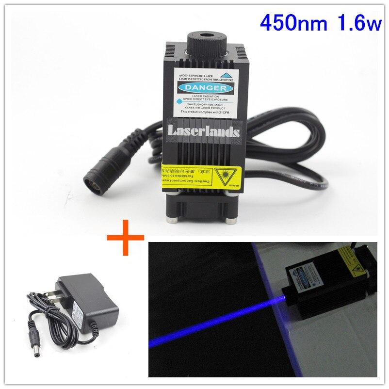 33*55mm 450nm 1,6 W Módulo de diodo láser azul para corte de grabado CNC con 1,6 W Osram PLTB450B