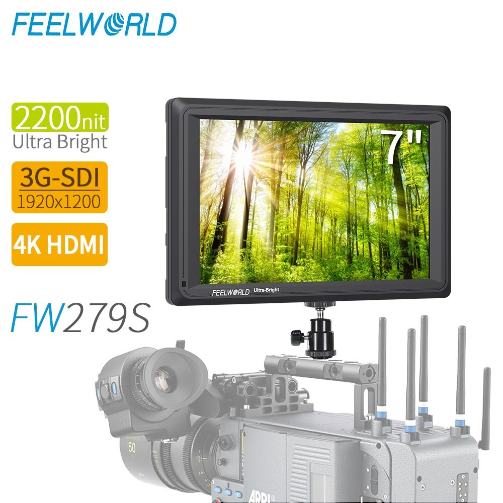 FEELWORLD-شاشة مراقبة ميدانية FW279S ، 7 بوصة ، 2200nit ، 3G-SDI Mini HDMI ، كاميرا DSLR ، 4K ، HDMI ، 1920X1200 خارجي