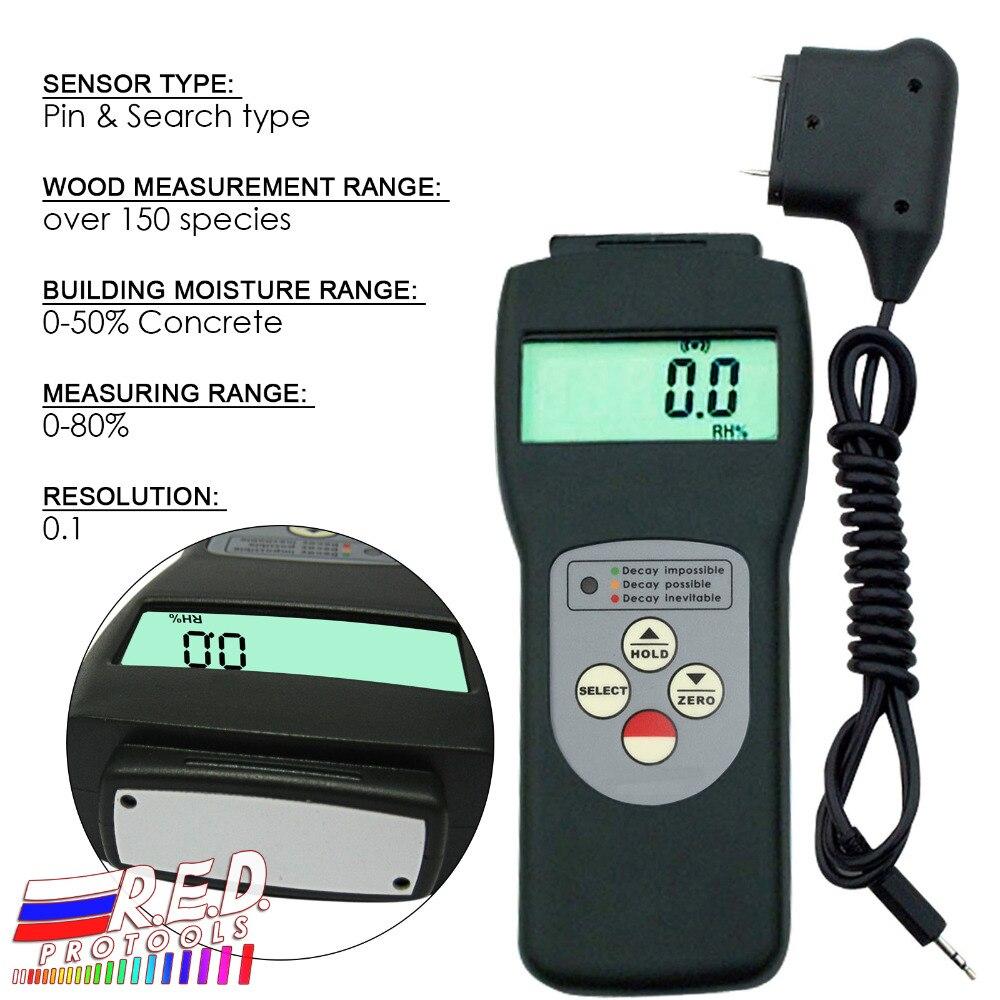 Handheld 2 in 1 Multifunktionale Digitale Pin & Suche typ Scanner und Sonde Feuchtigkeit Meter Holz Wand Glas 0- 80% palette