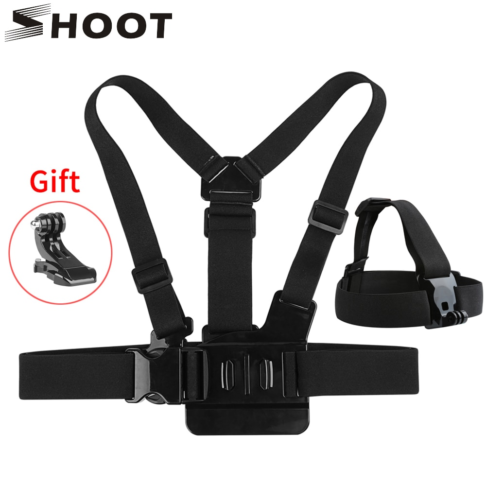 SHOOT Adjustable Harness Chest Strap Head Strap Belt for GoPro Hero 9 8 7 5 Black Xiaomi Yi 4K Sjcam Sj4000 Go Pro 7 8 Accessory shoot fetch dog harness chest strap for gopro hero 9 8 7 5 session sjcam sj4000 m20 xiaomi yi 4k h9r dji action camera accessory