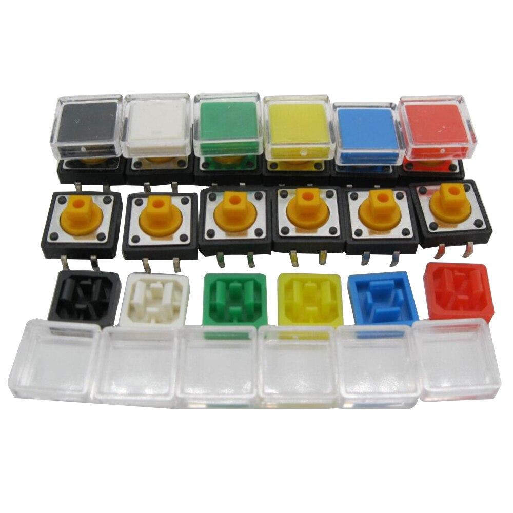 50 Uds B3F interruptor de botón táctil + sombrero de color A14 50 Uds + tapa transparente 50 Uds microinterruptor táctil momentáneo 12x12x7, 3mm