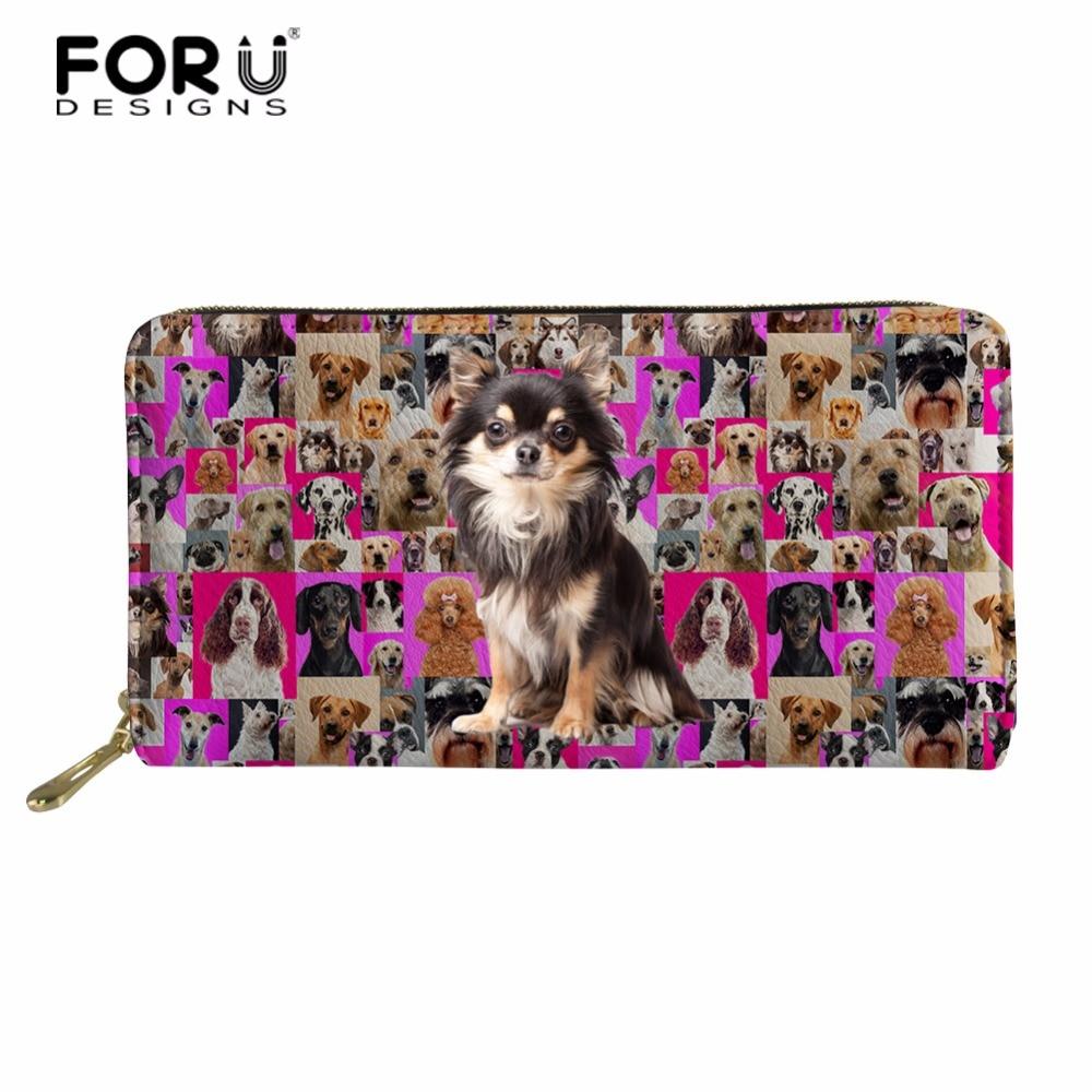 FORUDESIGNS 3d Chihuahua Pug Dog billetera larga Mujeres Nuevo embrague chicas monedero caso titular de la tarjeta femenina Carteira bolsas de dinero
