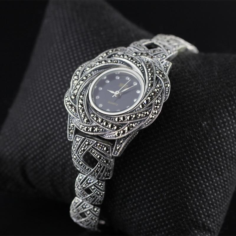 Nueva edición limitada clásico elegante S925 plata pura tailandesa pulsera de plata relojes Tailandia proceso Rhinestone brazalete Dresswatch