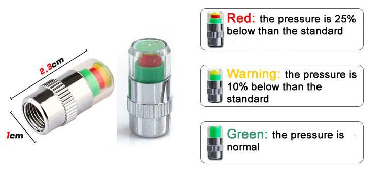 1pcs X 32 PSI 2.4 Bar Car Tyre Pressure Monitor Valve Stem Cap Sensor Indicator