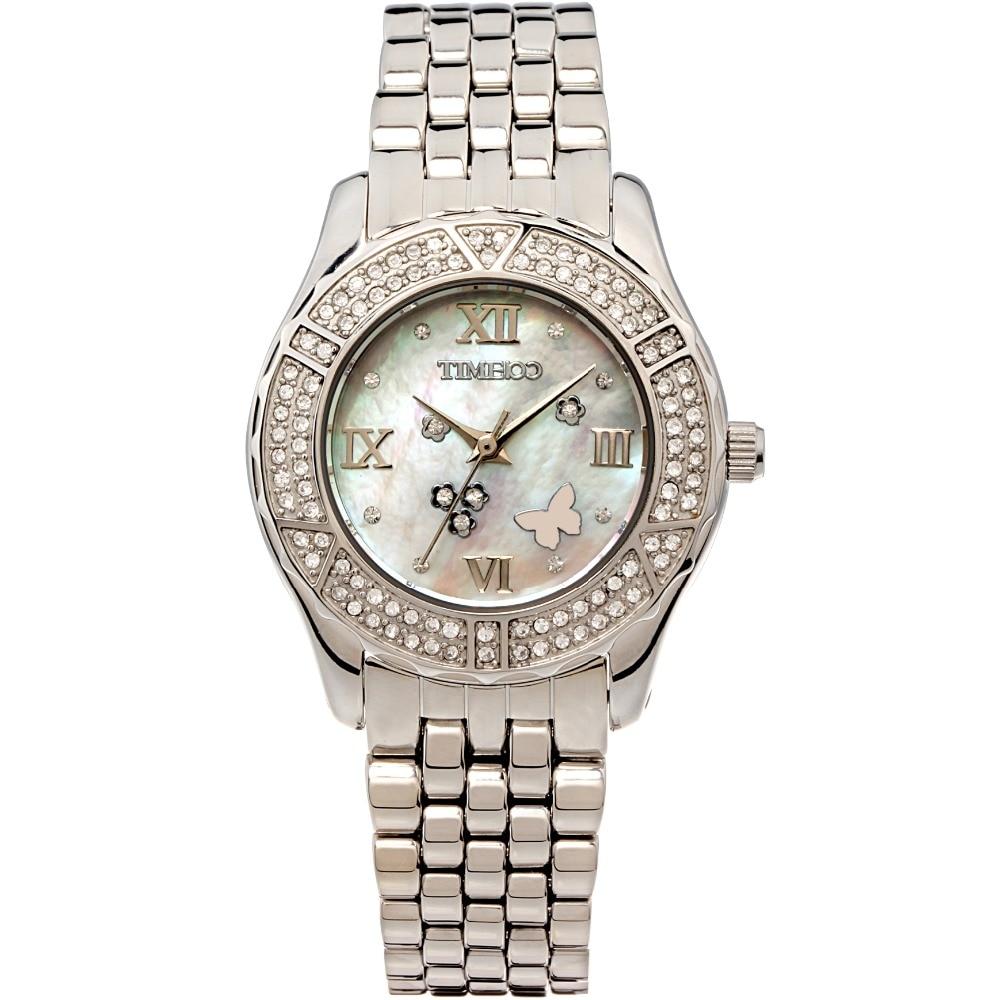 TIME100 Women Watches Stainless Steel Strap Analog Diamond Shell Dial Ladies Quartz Watch Dress Wrist Watches Relogio Masculino