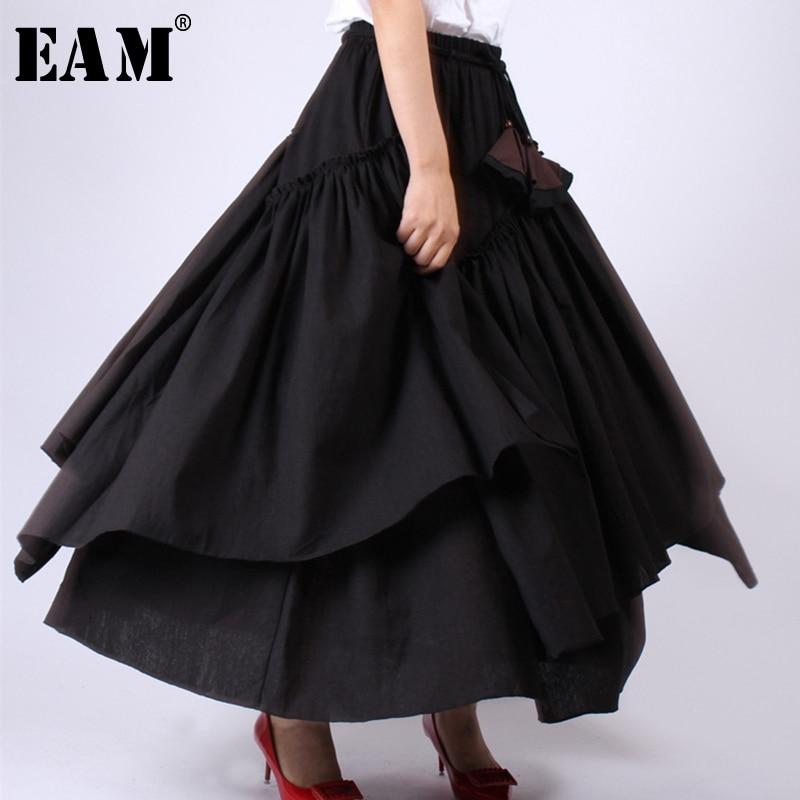 [EAM] 2020 New Spring Summer High Elastic Waist Black Layer Ruffles Split Joint Half-body Skirt Women Fashion Tide JW780