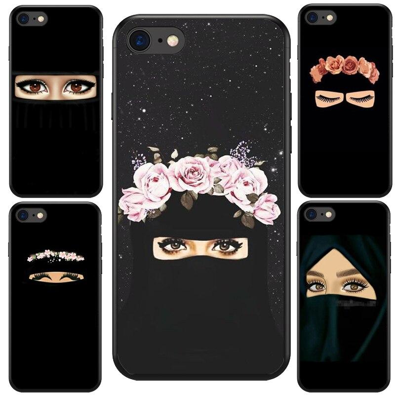 Muçulmano islâmico gril olhos árabe hijab menina macio silicone telefone capa para o iphone 7 5 5S se 6 s 6 plus 6 splus 7 plus 8 8 plus x