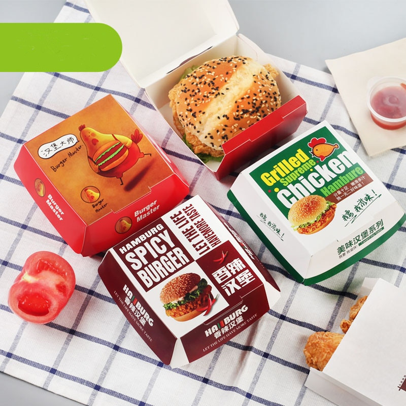 Caja de Paquete gratis para hamburguesas de papel marrón de 50 Uds caja de productos horneados caja de hamburguesas
