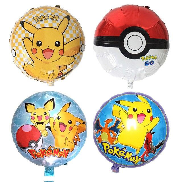 Suerte 50 unids/lote 18 pulgadas de dibujos animados Pikachu globo de Pokemon fiesta decoración de la boda Globos bolas de pokeball de Globos de helio Juguetes