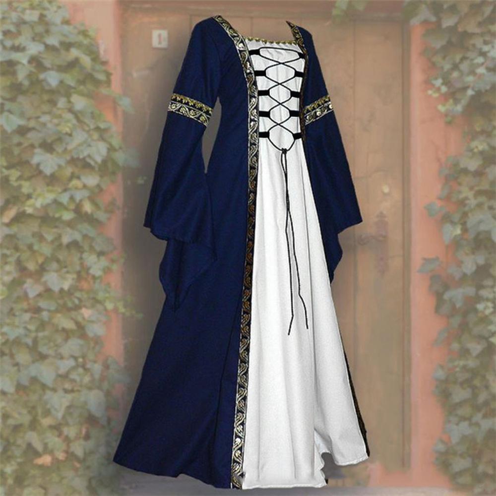 New Women's Fashion Vintage Celtic Long Sleeve Medieval Dress Floor Length Renaissance Gothic Cosplay Halloween Costume Dress
