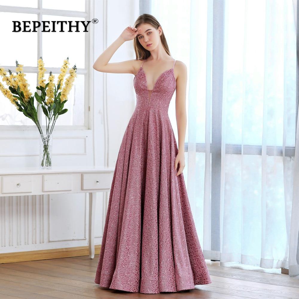 BEPEITHY Rosa V cuello largo vestidos De graduación entrecruzado volver Sparkle tela vestido De noche De fiesta elegante 2020 Robe De Soiree