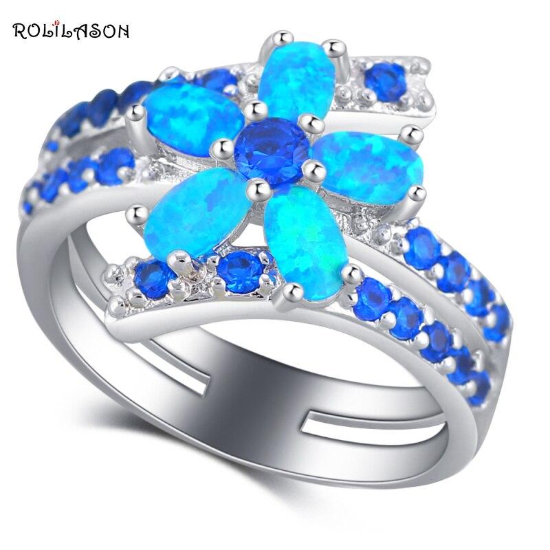 ROLILASON delicado diseño de flor azul ópalo de fuego joyería de plata de moda anillos EEUU tamaño #5 #6 #7 #8 #9 #10 OR879