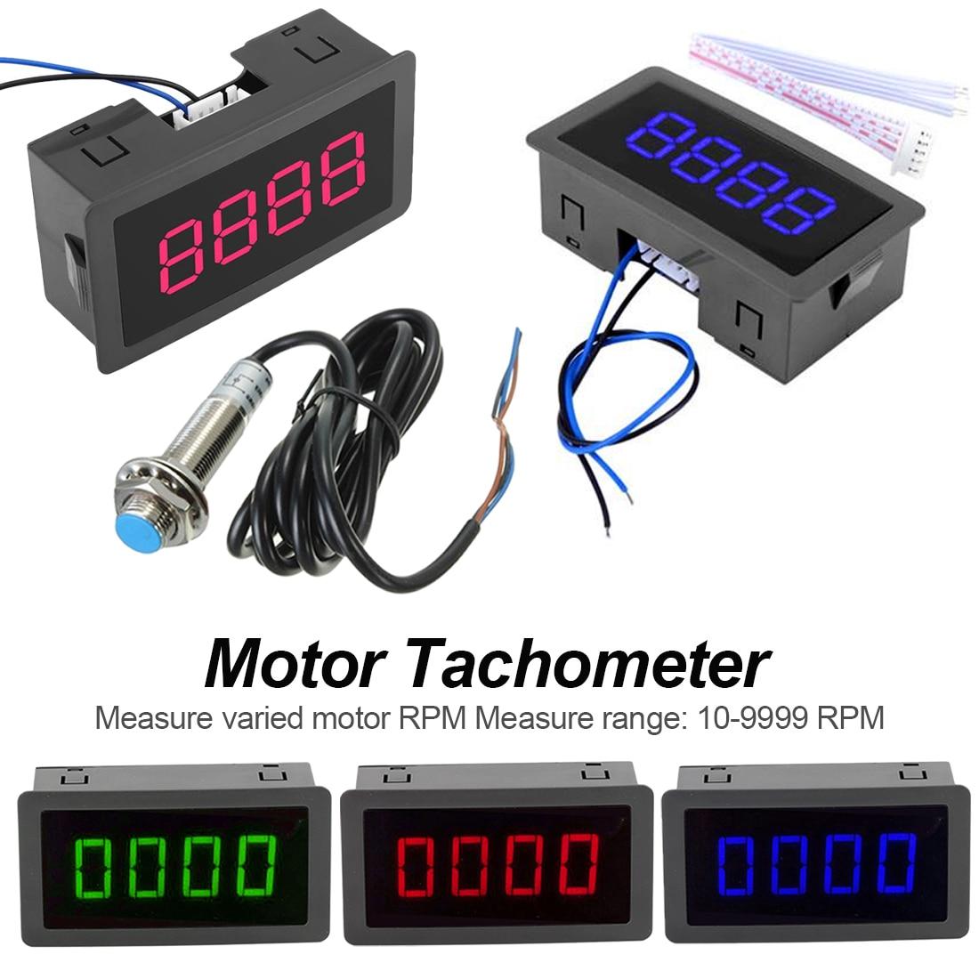 ¡Nuevo! tacómetro de 4 dígitos, medidor de velocidad RPM con interruptor LED azul y verde rojo, interruptor con sensor de proximidad, calibre de 10-9999 RPM