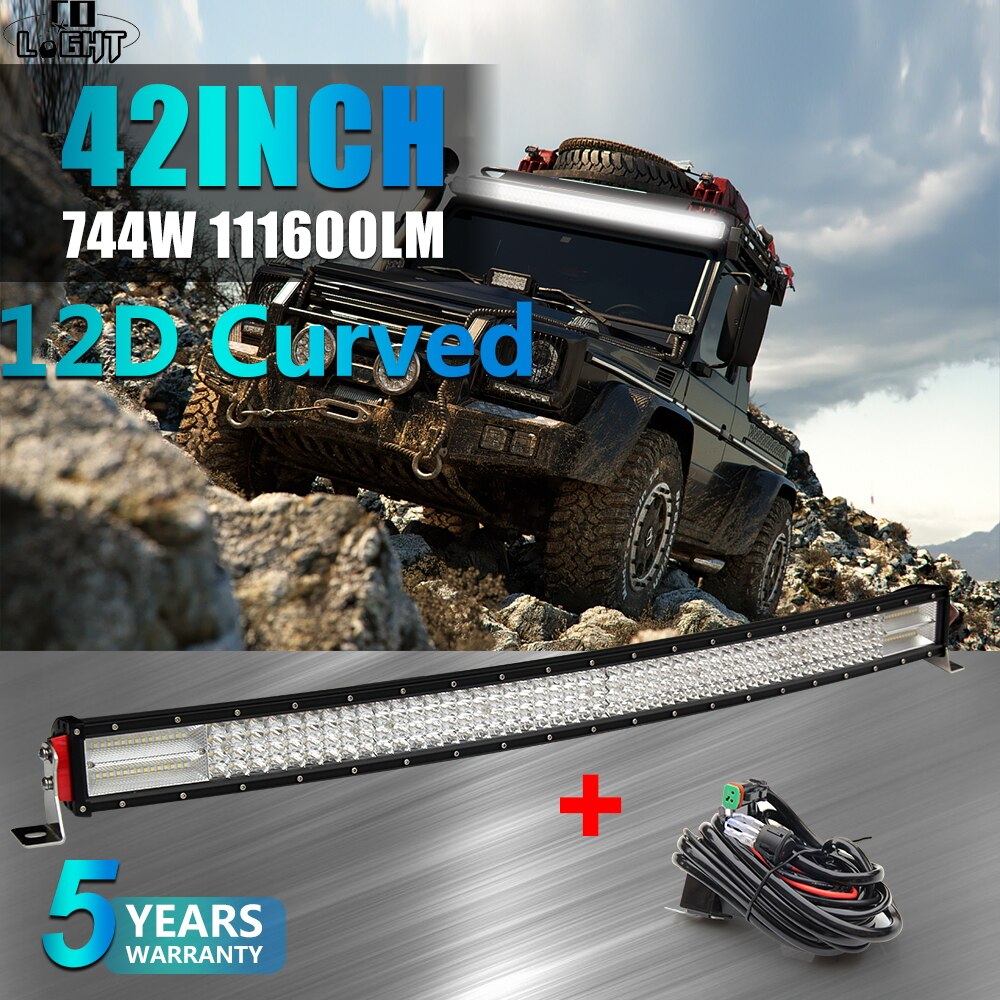 "CO LIGHT 12D 4-fila Barra de luz Led 42 ""744W curvada 4x4 Offroad Led Bar para 4WD camión Tractor ATV barco Auto Led luces de trabajo 12V 24V"