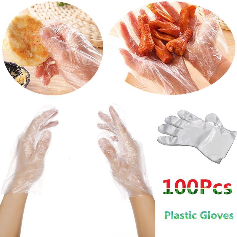 100 x descartável claro polietileno luvas de plástico alimentos seguro luva de limpeza cozinha catering foodservice decoração