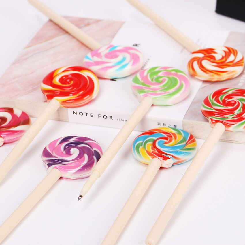 Kawaii Lollipop bolígrafo plumas 0,5mm negro tinta y pluma para niños de la escuela, la oficina material Escolar