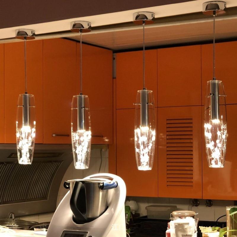 Lámpara de arañas Led moderna de cristal para restaurante, lámpara colgante nórdica para cocina, Bar, cafetería o tienda, lámpara colgante para techo, lámpara colgante para Loft
