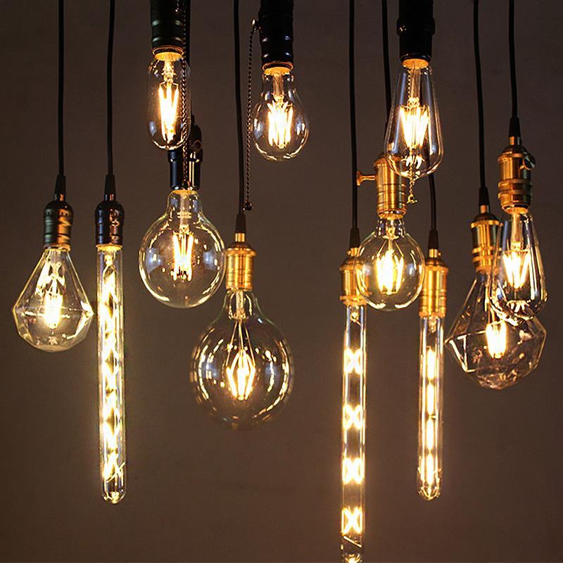 Lâmpada led edison g45 g80 g95 st64 a60, 4 unidades, vintage, filamento e27 220v luz 2w 4w 6w 8w luzes incandescentes retrô