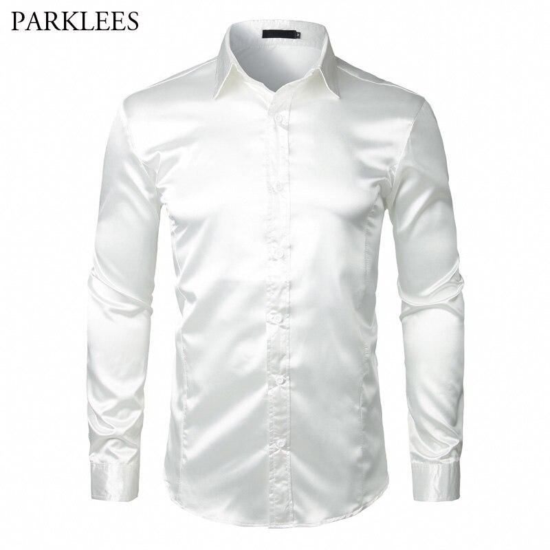 Camisa de manga larga de satén de seda para hombre, camisa de esmoquin blanco nuevo de marca 2018, camisas de esmoquin para hombre ajustadas, camisas SOCIALES DE NEGOCIOS Chemise