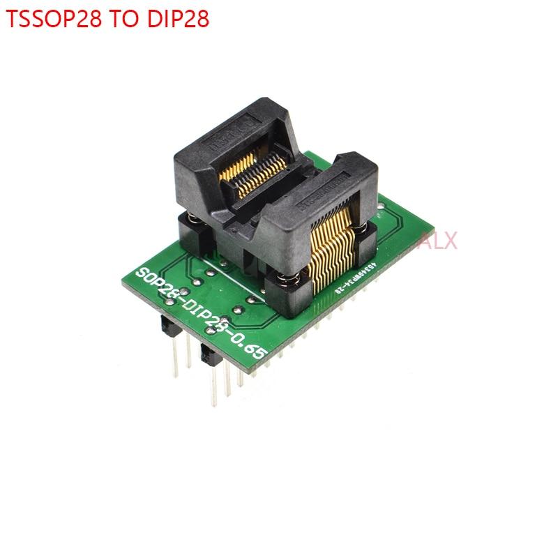 1PCS SSOP28 TSSOP28 TO DIP28 programmer adapter socket TSSOP TO DIP CONVERTER test chip IC FOR 0.65MM PITCH