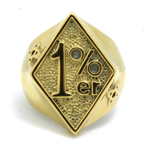 ¡El más nuevo! Todo oro 1% er nuevo anillo de diseño 316L acero inoxidable superior Popular oro 1% Biker anillo fresco de tamaño 8 -13