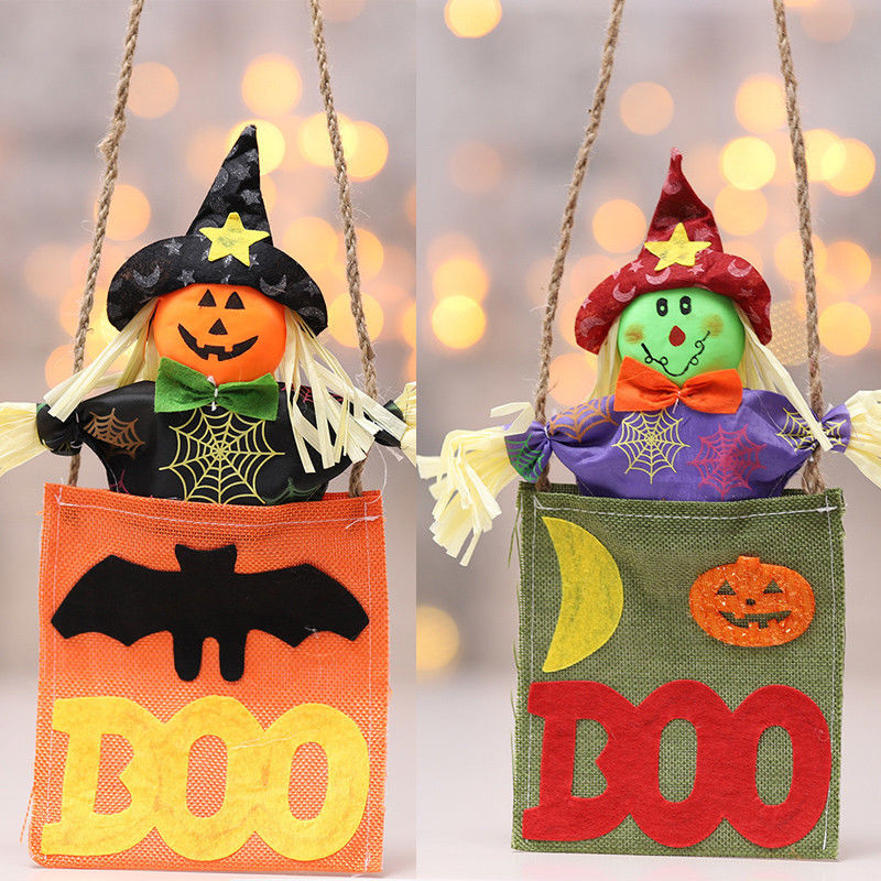 Colgante de Halloween muñeco de peluche muñeca bruja muñeca de calabaza muñeca suave gorra negra roja adorno de fiesta decoración colgante de utilidad
