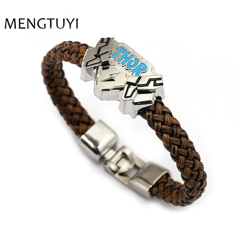 J Loja de souvenir Filme Thor charme pulseira de couro Trançado pulseiras homens jóias crianças brinquedo de presente de jóias de personalidade