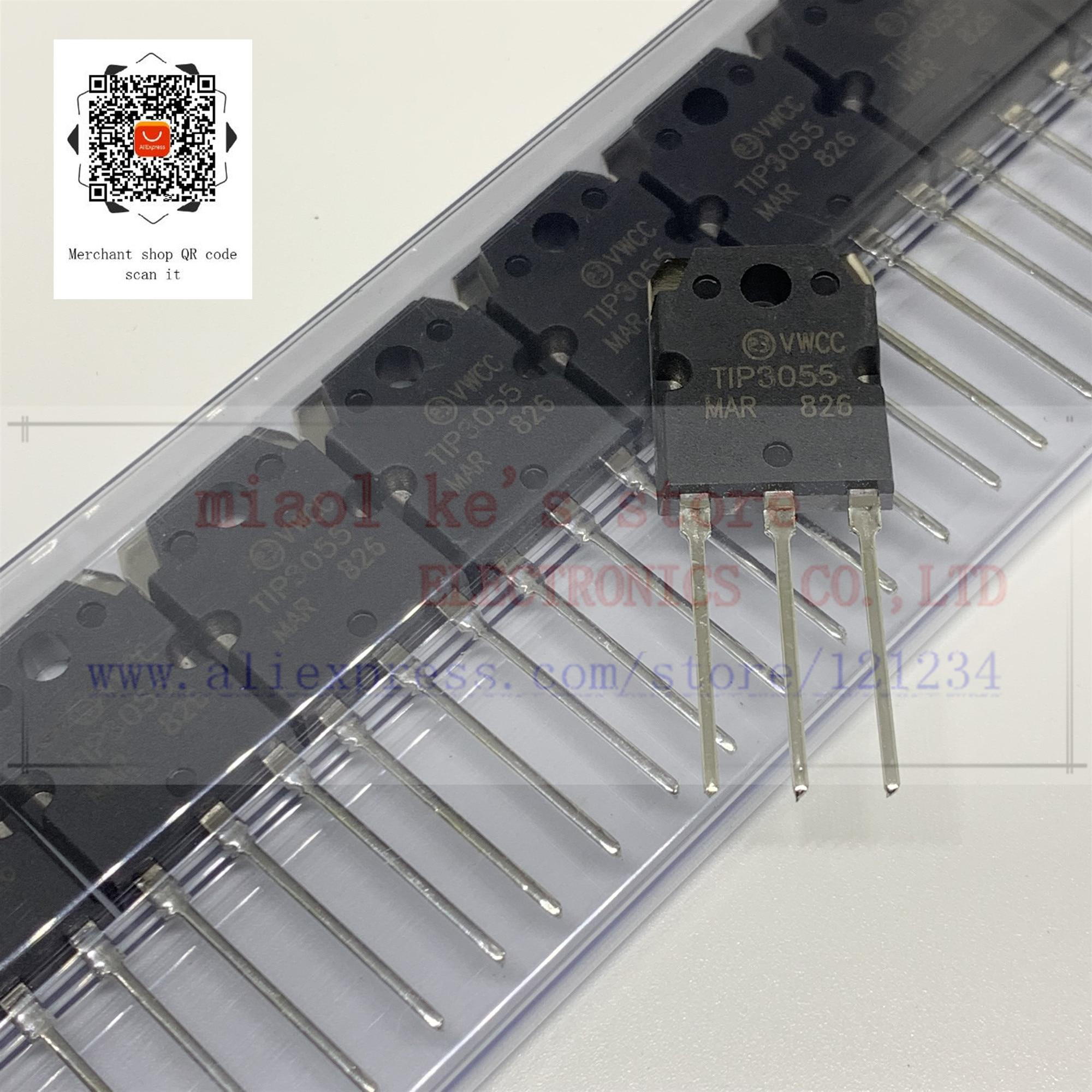 [5 uds/1 lote] 100% nuevo original; Punta TIP3055 3055-transistor NPN 60V 15A TO-247