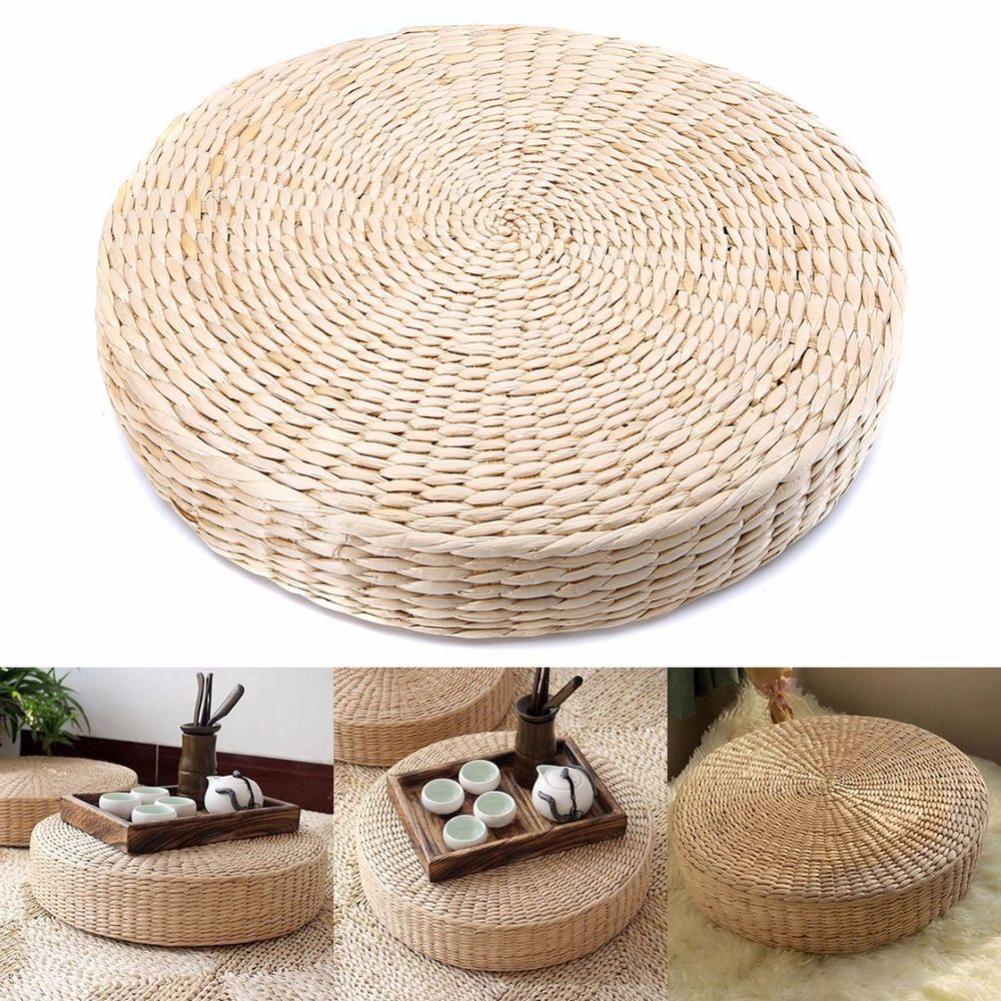 1pc Round Natural Straw Weave Zafu Meditation Yoga Round Mat Zafu Chair Cushion Chair Seat Mat Tatami Cushion 40cm Drop Shipping