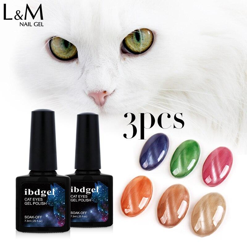 3 botellas marca ibdgel remojo de larga duración esmalte de uñas de gel uv jade magnético ojo de gato artista de uñas de gel