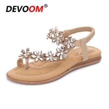 2018 New Czech Style Fashion Womens Sandals Flat Rhinestone Sandals Ladies Shoes Peep Toe Quality Sexy Bohemian Sandals Big Size