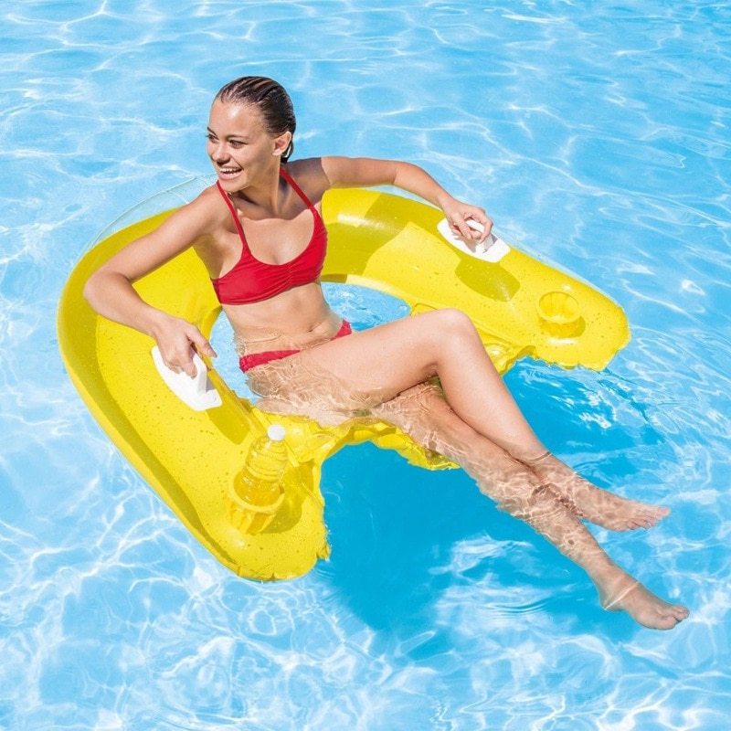 New Adult Swimming Pool Floats Inflatable Water Chair Water Hammock with 2 Cup Holder