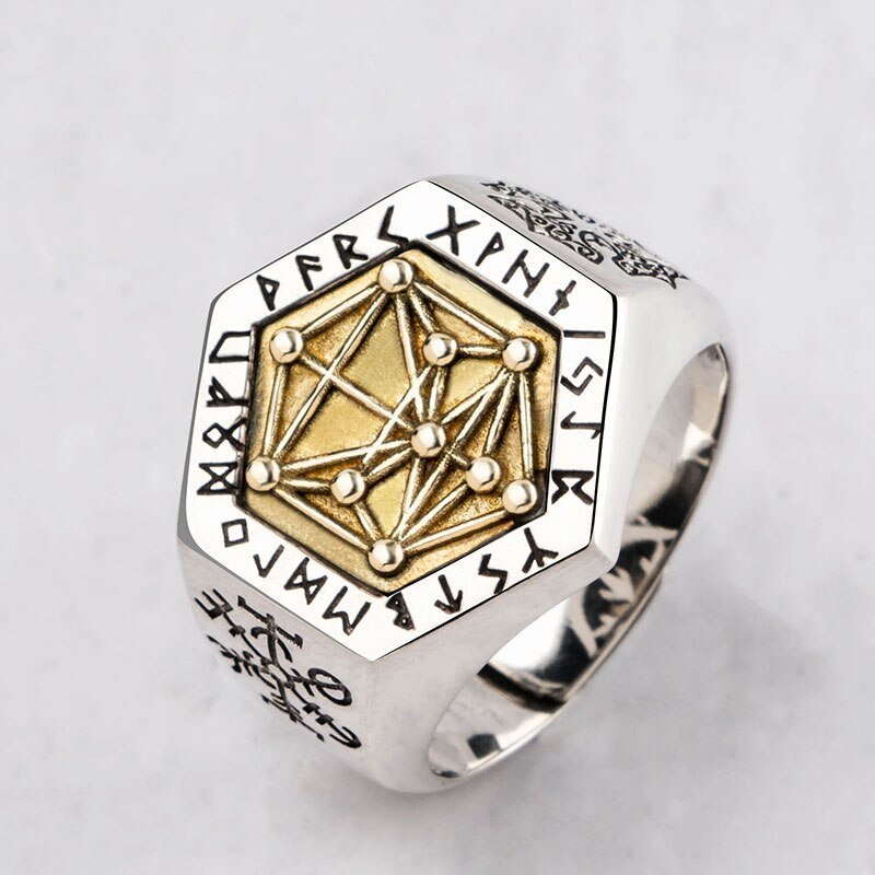 Nordic mitologia viking rune prata esterlina anéis para homem e mulher kabala totem índice anel jóias moda mygrillz