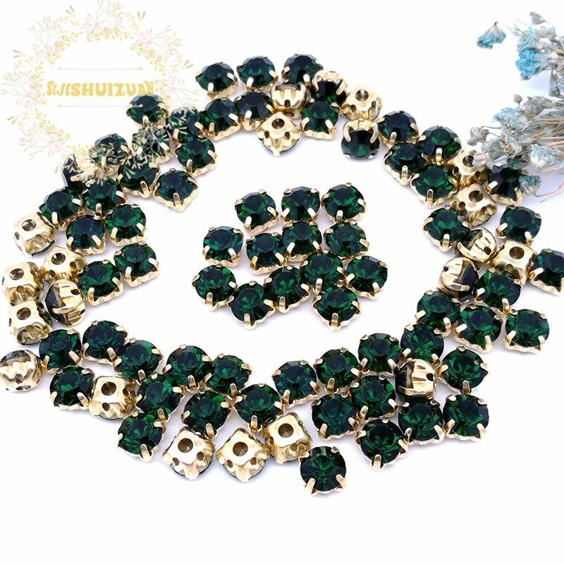 3mm 4mm 5mm 6mm 7mm 8mm Esmeralda diamante cristal con forma diamantes de imitación con garra dorada en miniatura Diy accesorios de vestido de novia